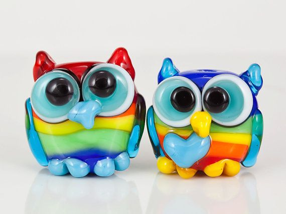 Rainbow Owl Pair Lampwork Glass Beads by maybeads on Etsy, $30.00