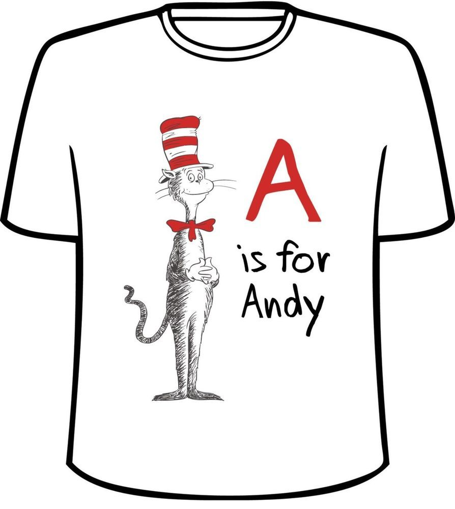 Dr Seuss Kids Shirts: Many Tee Colors-Personalized Dr. Seuss Cat In The Hat