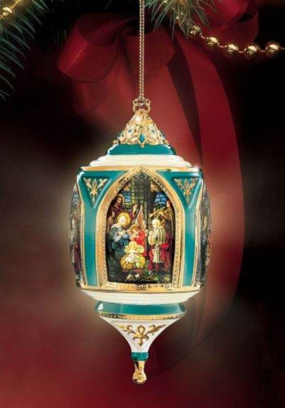 Inspirational Nativity of Hope Stained Glass Religious Ornament