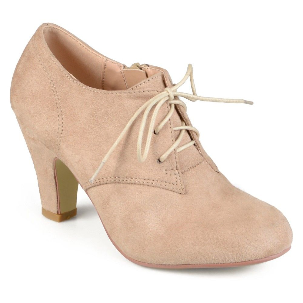 Vintage 1920s Shoe Styles Womens Journee Collection Leona Vintage Round Toe  Lace Up Booties - Taupe