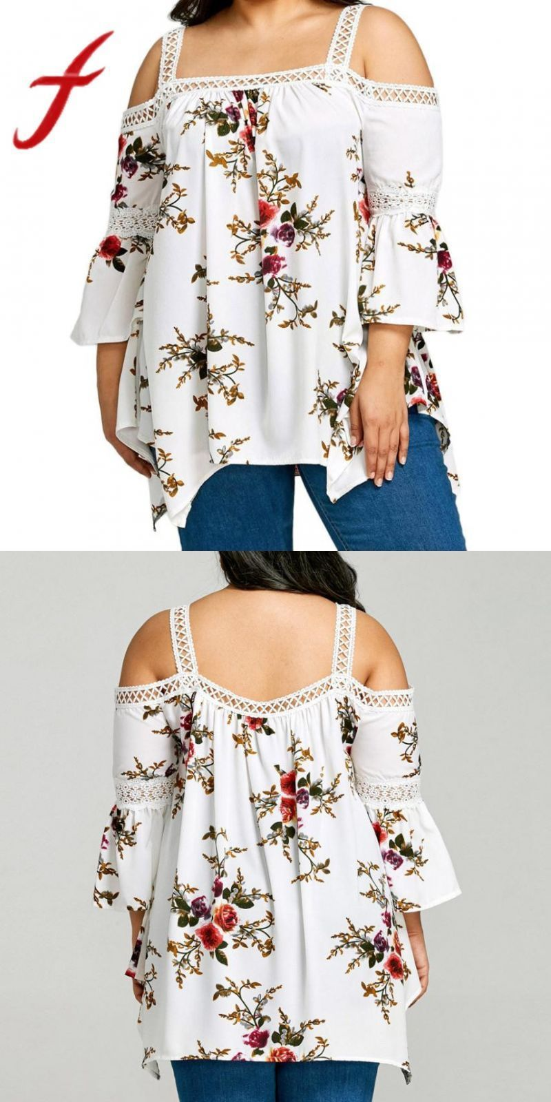 Women Chiffon Blouses Sexy Cold Shoulder Lace Floral Printing Shirt