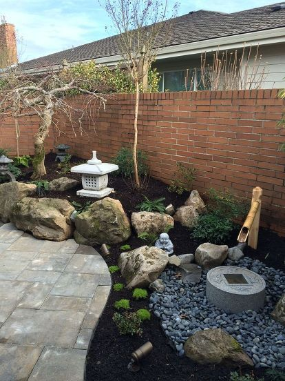 Small Japanese Courtyard Garden is part of Courtyard garden Plans - A Japanese garden Ross NW Watergardens designed and installed for a Wilsonville, OR client  This small garden includes a water feature (tsukubai), new patio, bo…
