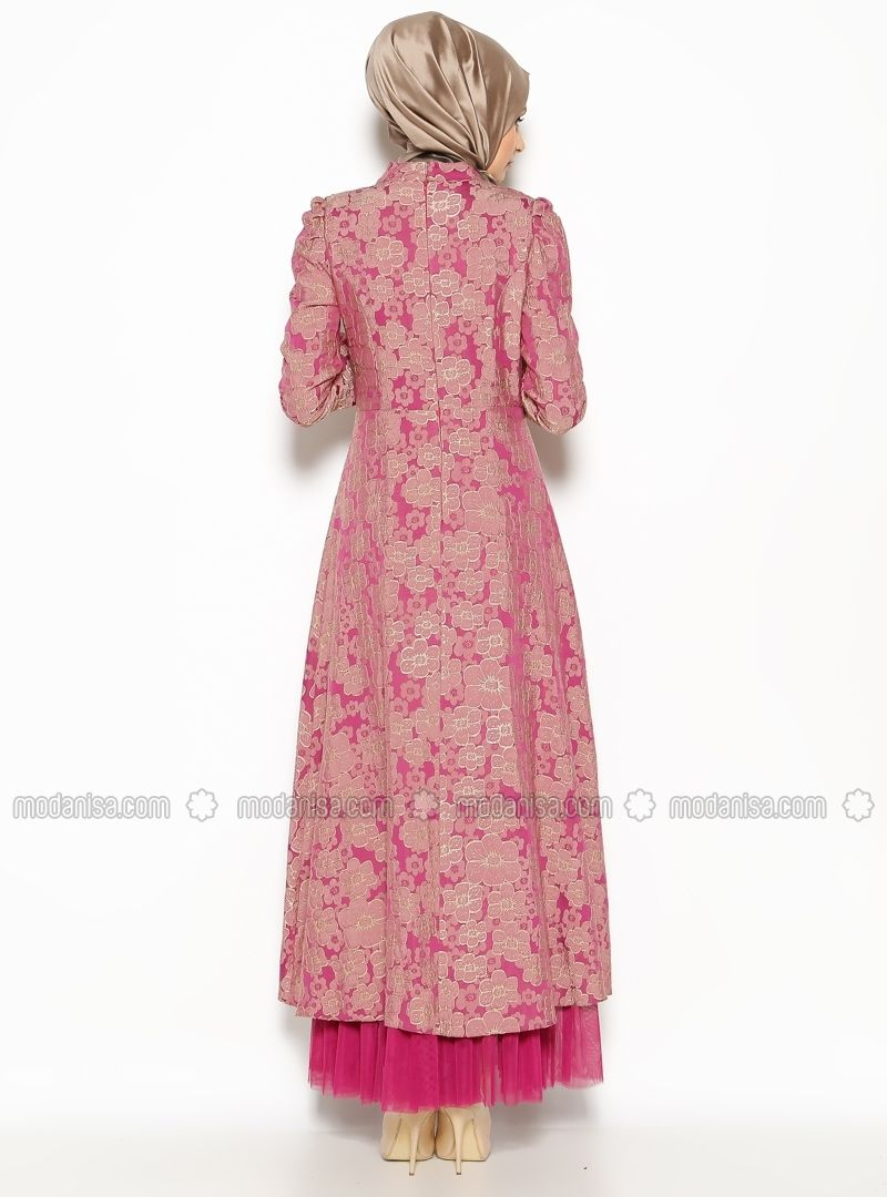 Patterned Evening Dress - Fuchsia - BURUN | Gaun Muslim | Pinterest
