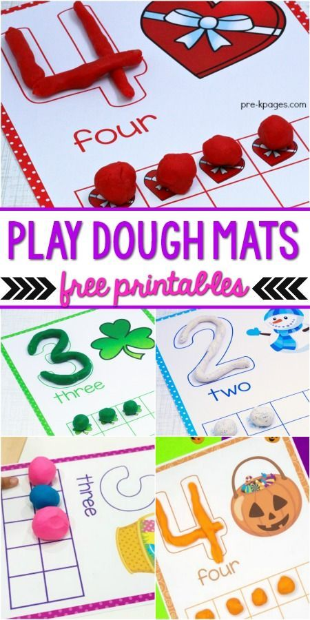 Printable Play Dough Mats is part of Pre k pages, Free preschool printables, Preschool fun, Numbers preschool, Preschool math, Preschool learning - List of printable play dough mats for preschool, prek, and kindergarten; free Play Dough Center resources for PreK classrooms