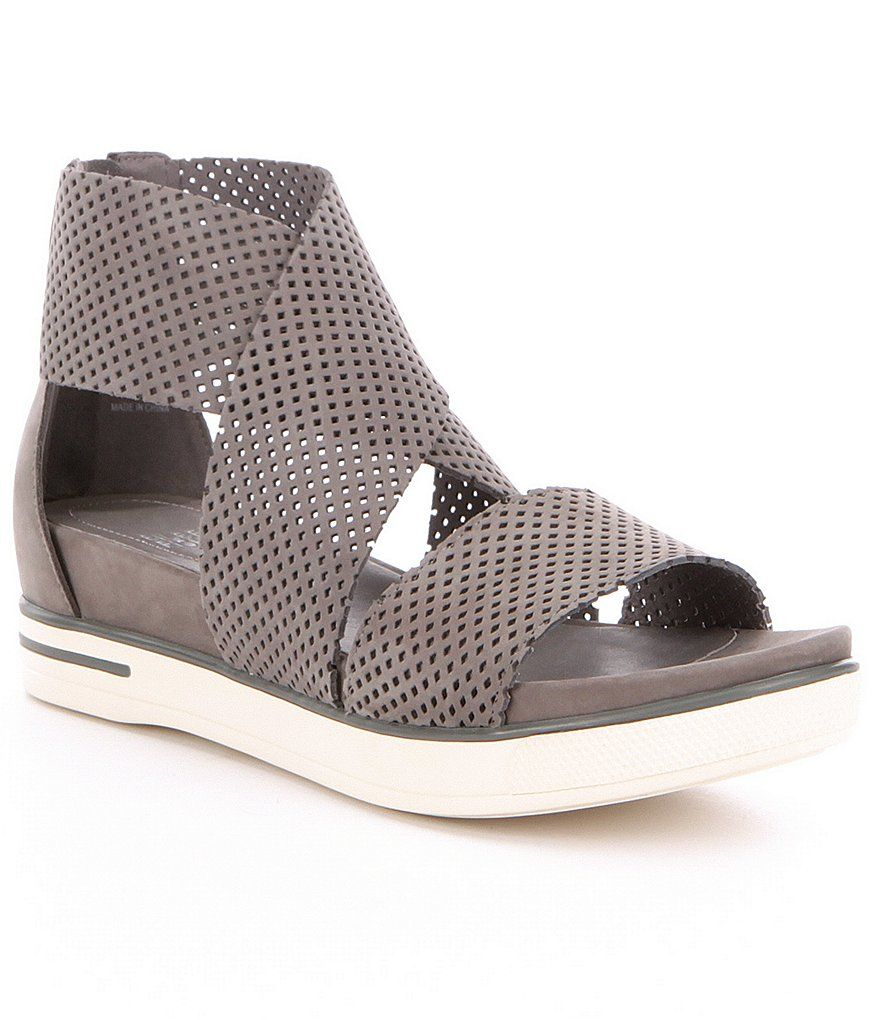 Graphite:Eileen Fisher Sport 2 Perforated Criss-Cross Banded Sandals