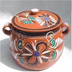Collectible Kitchenware Cozuelas Mexican Hand Painted Clay Bean Pot Art Deco Design Ceramic Rustic Cookware Tlaquepaque Pot
