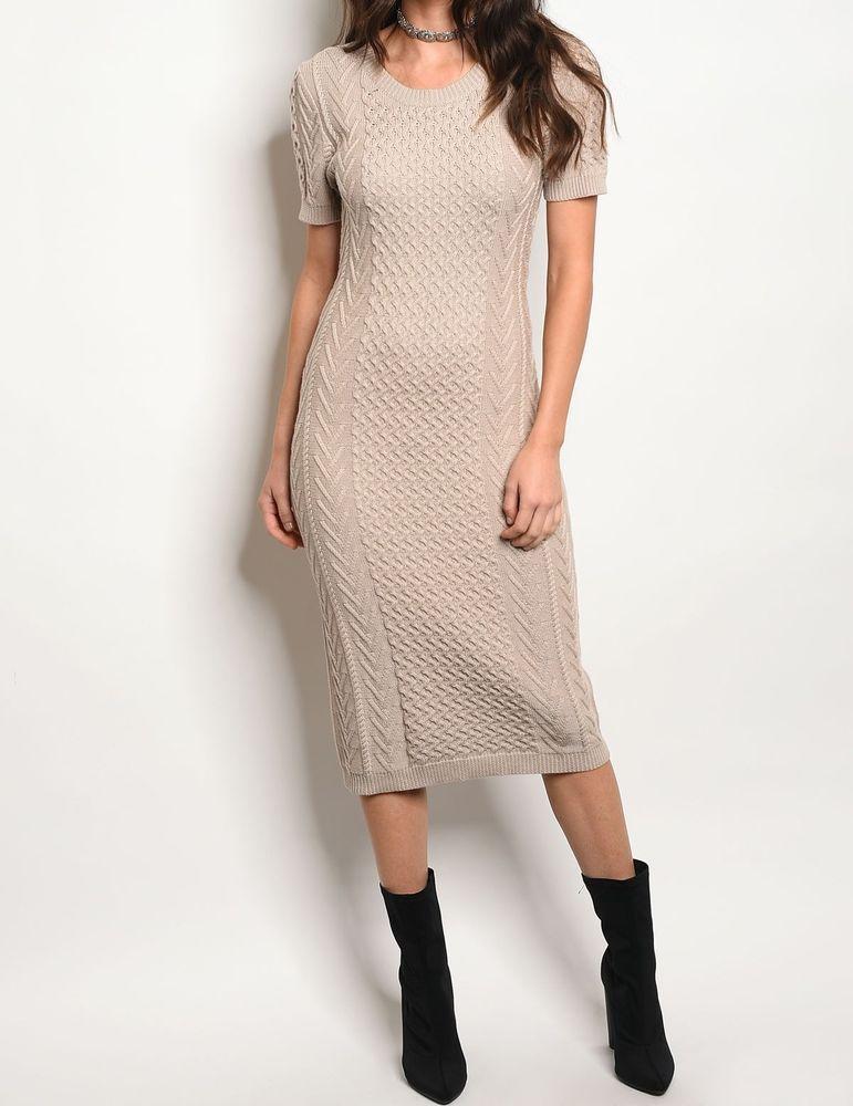 cc818a81423 Khaki Cotton Blend Knit Maxi Mixed Stitch Cable Sweater Dress