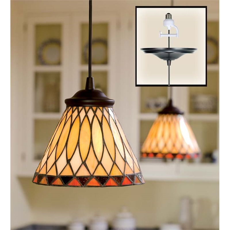 Screw-In Stained Glass Pendant Light | Lamps & Lighting
