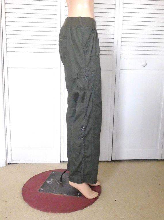Hippie Cargo Pants Green Khaki Cargos Hip Hugger Size 5 Adjustable Cargos Clothes Boho Army Green Ribbed Elastic Waistband Vinta Cargo Pants Boho Outfits Pants