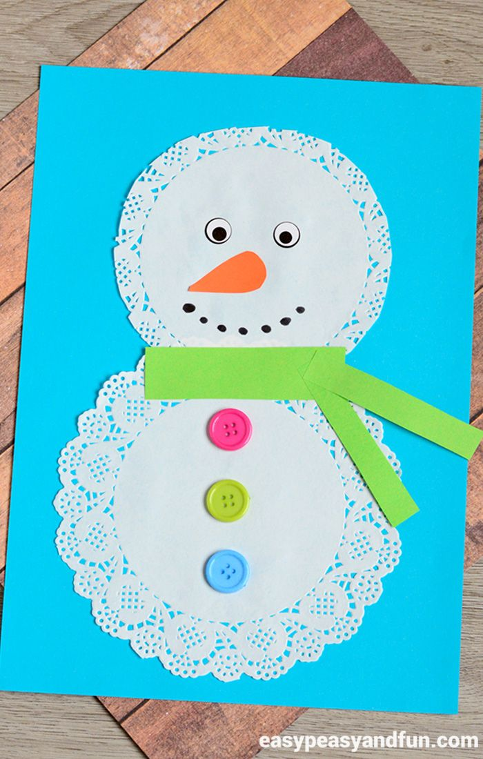 Easy Winter Kids Crafts That Anyone Can Make: Doily Snowman Craft
