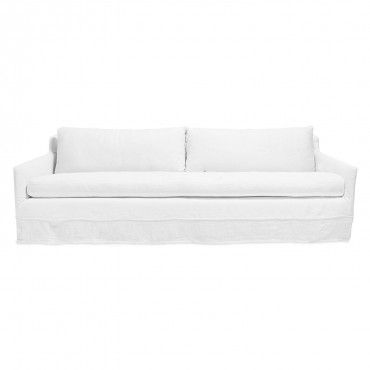 Urbn 2 0 white belgian linen sofa fluid lines in crisp for White linen sectional sofa