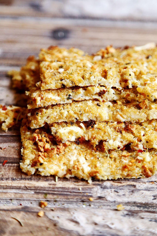 Cheezy Vegan Flourless Cauliflower Garlic Bread Food