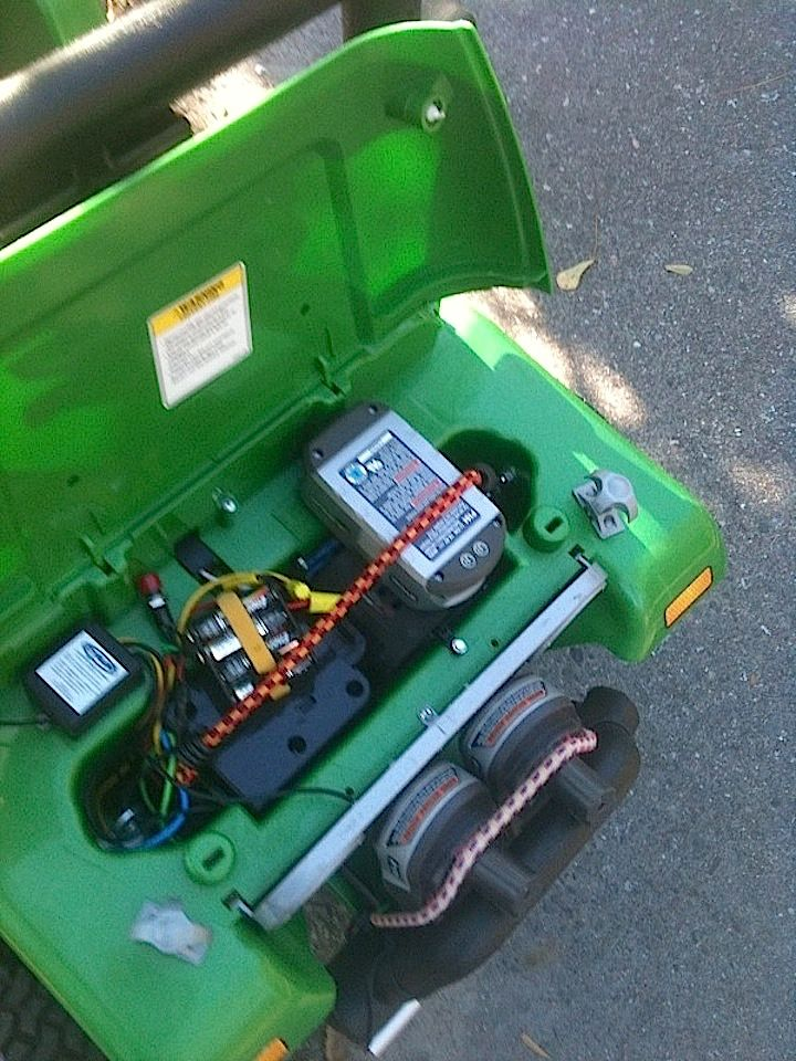 Relocated Ryobi Lithium Battery Under Jeep Hood Power Wheels Power Wheels Jeep Battery Powered Car