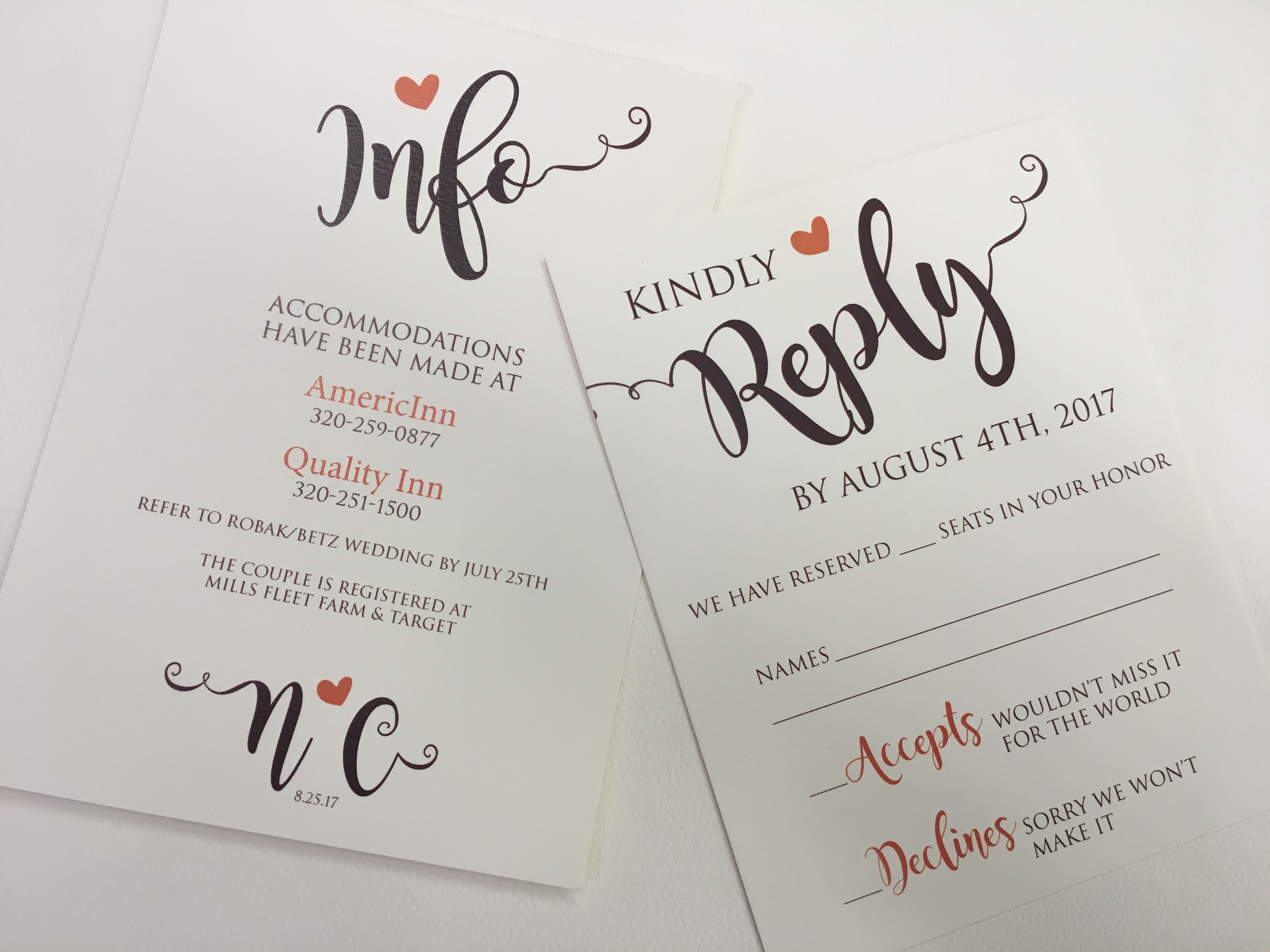 Wedding Invitation Insert Printing Service Wedding