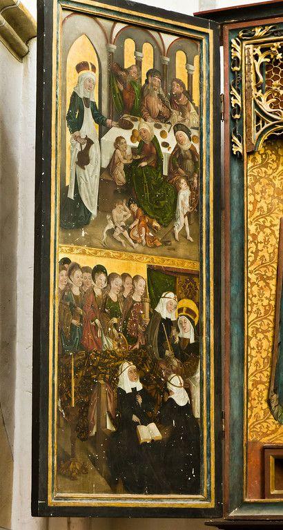 Brandenburg, St. Katharinen. Hedwigsaltar, li. Seitenflügel: Pilgerspeisung, Tod 1485