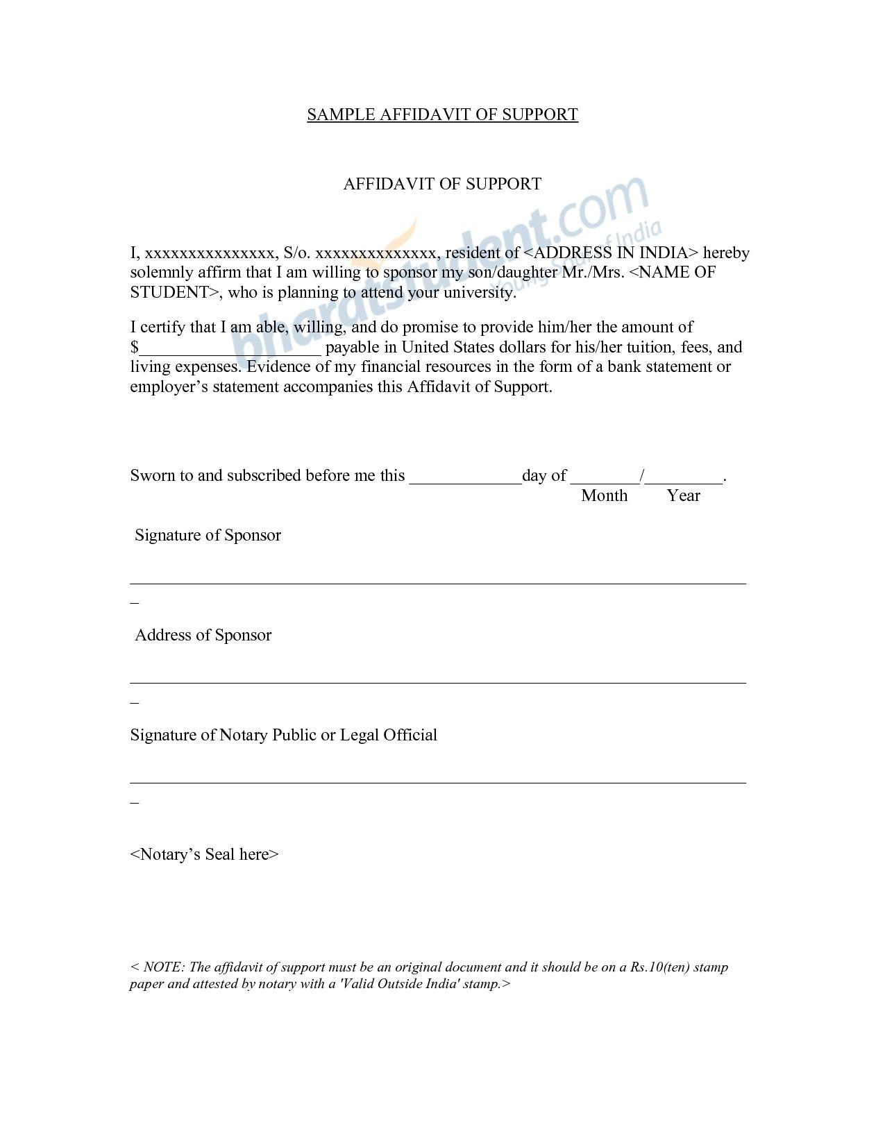 Affidavit Letter Samples Jianbochen Support Sample The