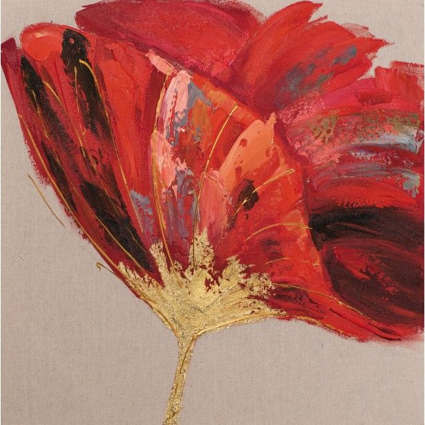 tableau fleur 70x70 dor peint sur toile fibre naturelle. Black Bedroom Furniture Sets. Home Design Ideas
