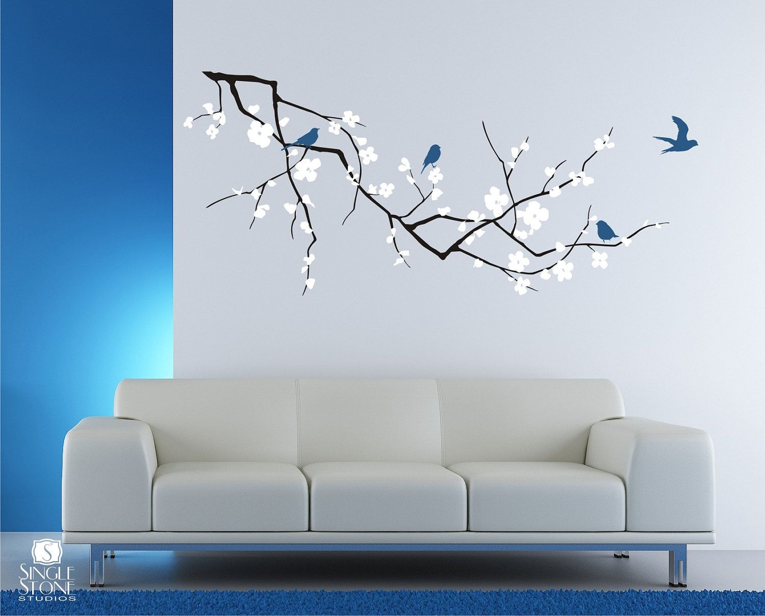 Cherry Blossom Tree Branch Wall Decal With Birds Vinyl Wall Art - Wall stickers art
