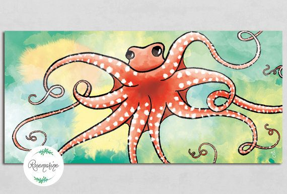 Octopus Birthday Greeting Cards Illustrated by RosemarineCreation