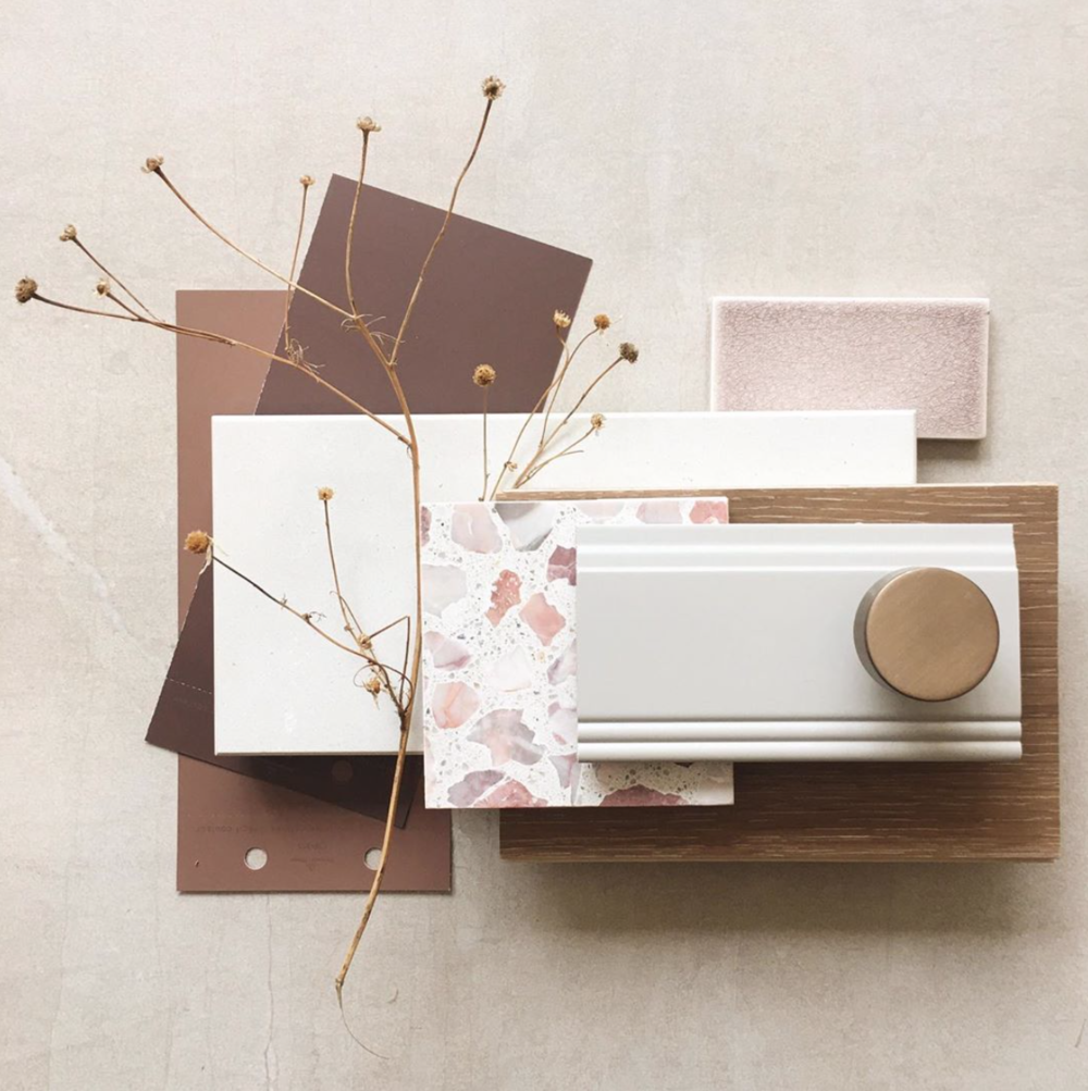 Interior design materials palette + physical materials board + analogous color palette + deep purple + violet + red-violet + white trim + pink terracotta tiles + materials samples + mood board layouts | Farmer's Daughter