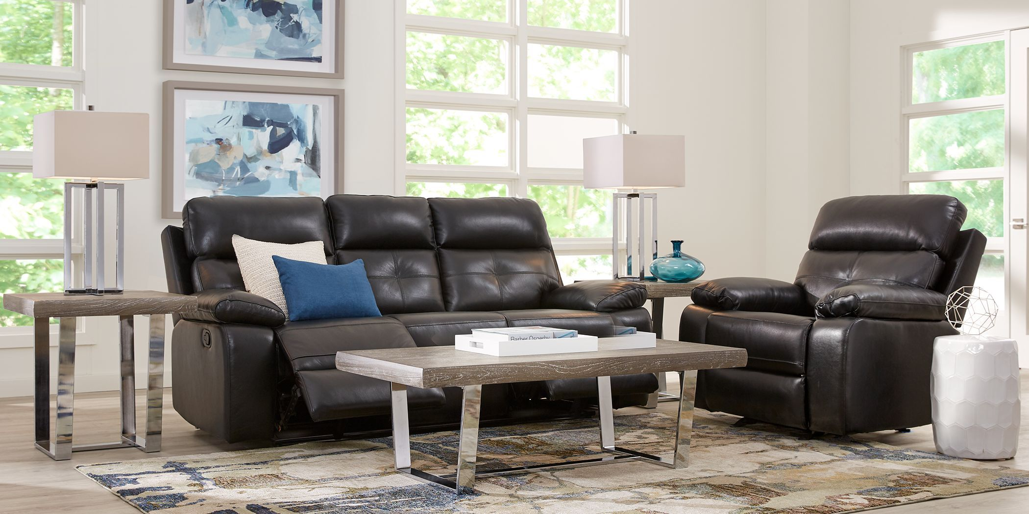 Cepano Black Leather 2 Pc Living Room With Reclining Sofa Living Room Sets Furniture Furniture Leather Living Room Set