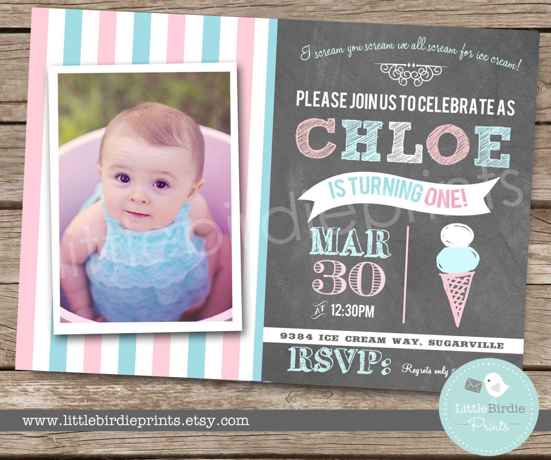 ICE CREAM Invitation Chalkboard Birthday by littlebirdieprints, $16.50