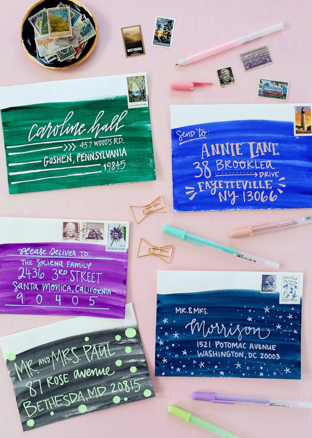 diy colorful envelope address ideas with sakura of america glaze and souffl pens oh so beautiful paper