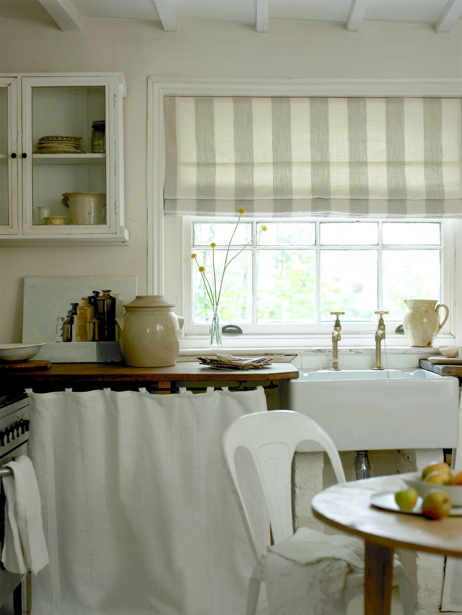 I love this country kitchen roman blind in broad stripe for Kitchen roman blinds contemporary