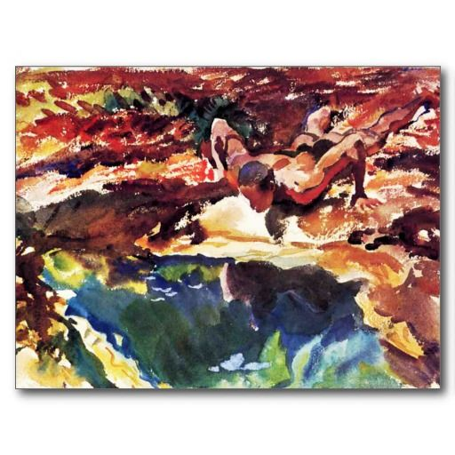 """This watercolor is """"Figure and Pool"""" done in 1917 by John Singer Sargent (1856-1925)."""
