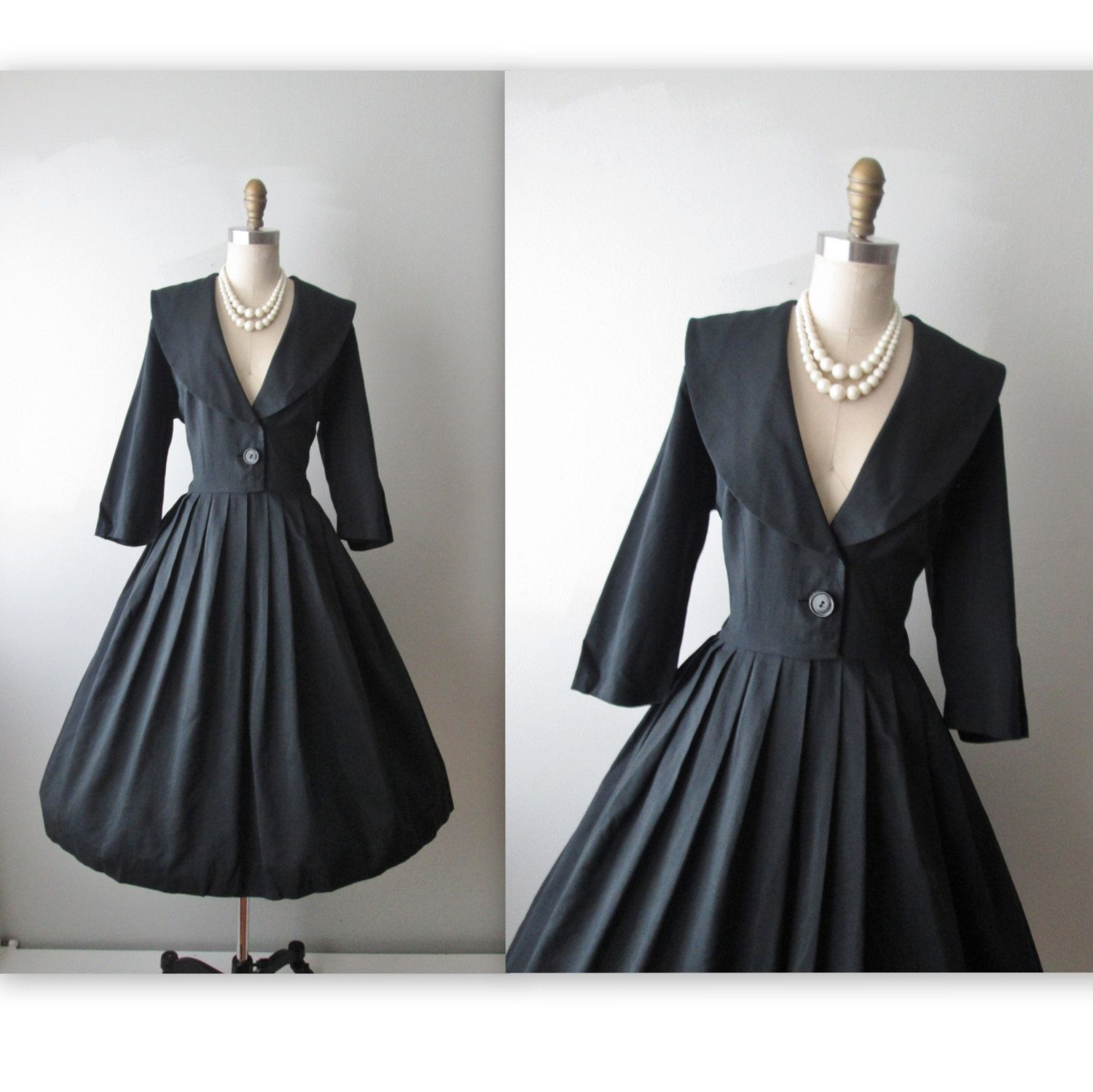 50S Dress Vintage 1950S Black Full Cocktail Party Holiday Shirtwaist