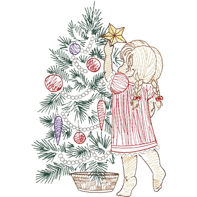 Girl Adding The Star Christmas Tree Embroidery Design Embroidery Patterns Vintage Vintage Embroidery