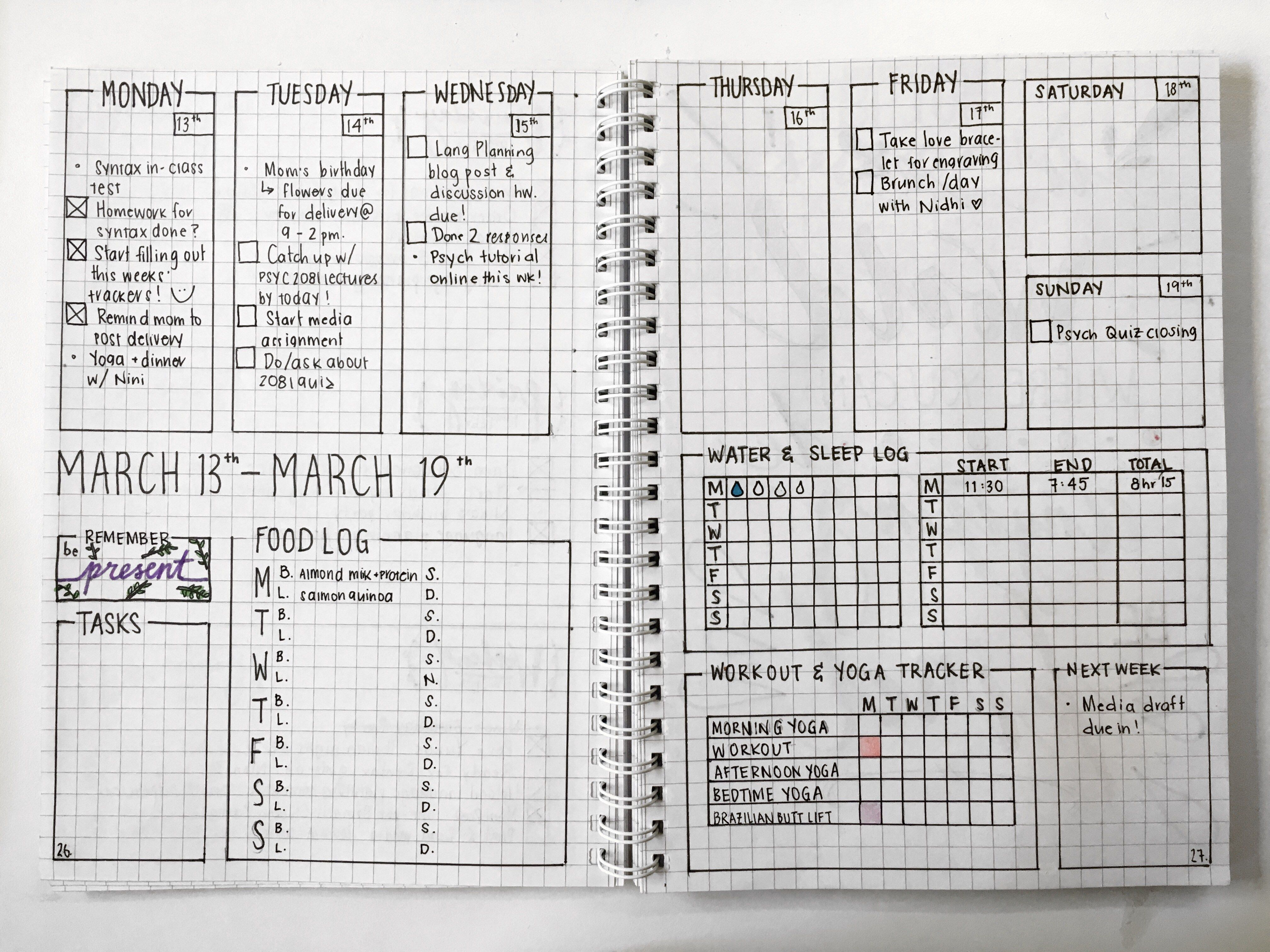 i love this layout for a bullet journal weekly spread with habit