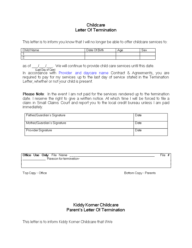 Daycare Termination Letter For Non Payment  Download This Daycare