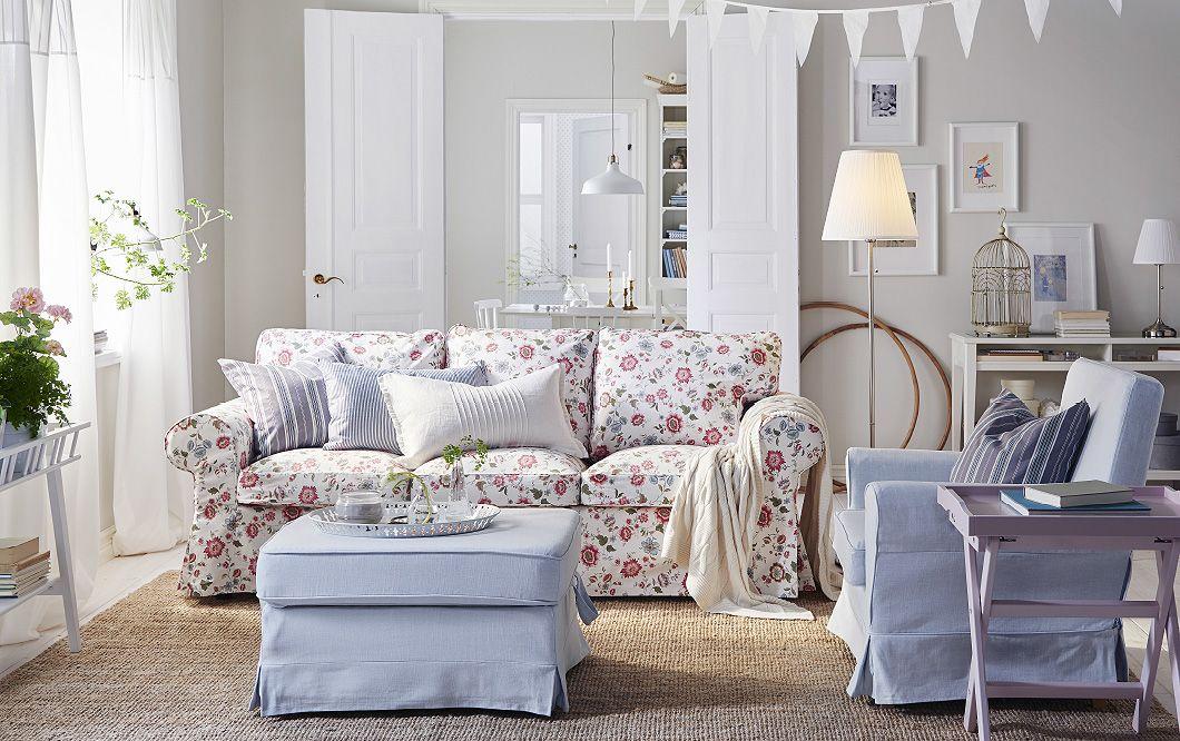 Ein Helles Sofa U A Mit EKTORP 3er Bezug Videslund Bunt