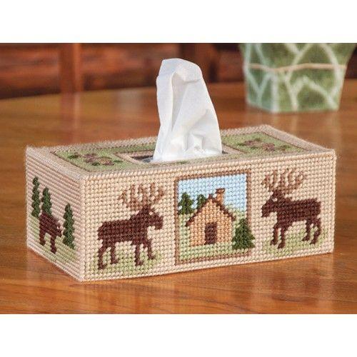 Woodland tissue box cover plastic canvas kit canevas pc for Tissue box cover craft