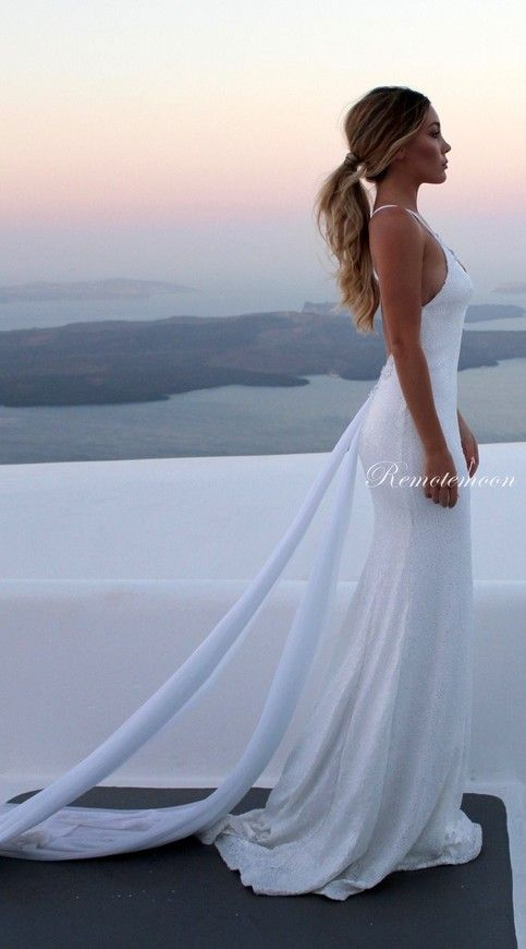 Sexy Spaghetti Straps Beach Wedding Dress White Sequins V-neck Low Open Back Mermaid Wedding Dresses with Long Train Summer Bridal Gowns from Remotemoon