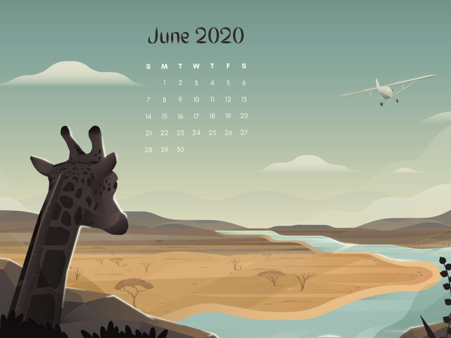 June 2020 Desktop Calendar Wallpaper in 2020   Calendar ...