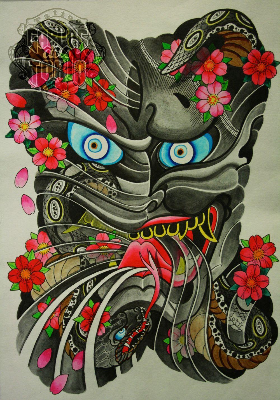 Awesome Hannya Mask Tattoo The Hannya Mask Hình xăm