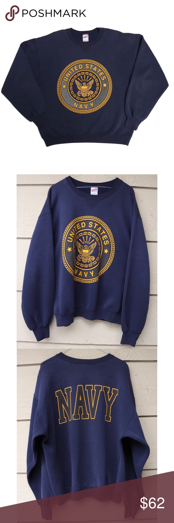 Vintage Us Navy 3m Reflective Pullover Crewneck Clothes Design Pullover Sweatshirt Shirt [ 1740 x 580 Pixel ]