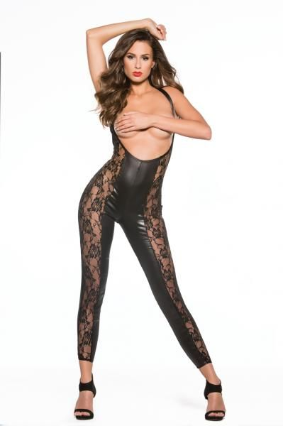 373c955bb49 Kitten Lace and Wet Look Catsuit Black O/S - Allure Lingerie Kitten Lace  and Wet Look Catsuit O/S. Features a low front neckline with a cupless  front and%.