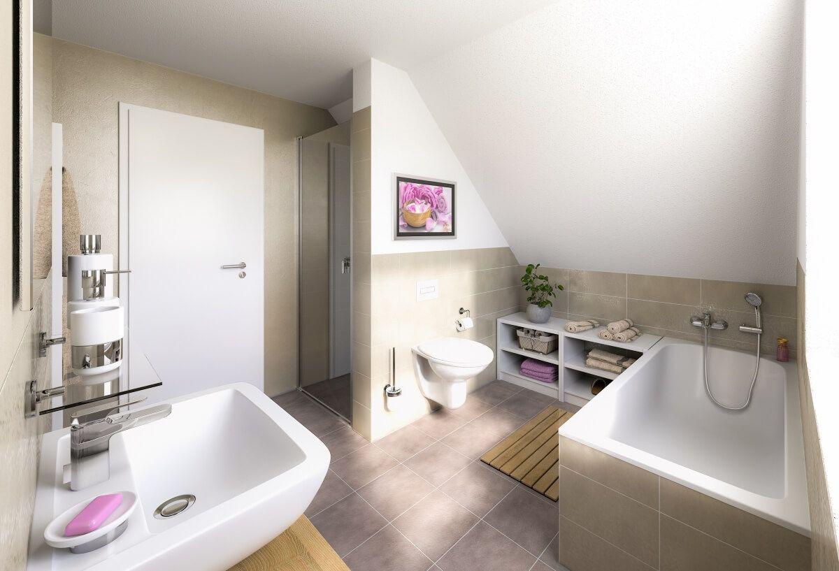 Badezimmer mit Dachschräge, Dusche & Badewanne Ideen