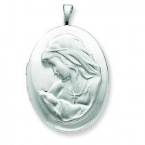 925 Sterling Silver 20mm Mother and Baby Oval Locket 31mmx20mm