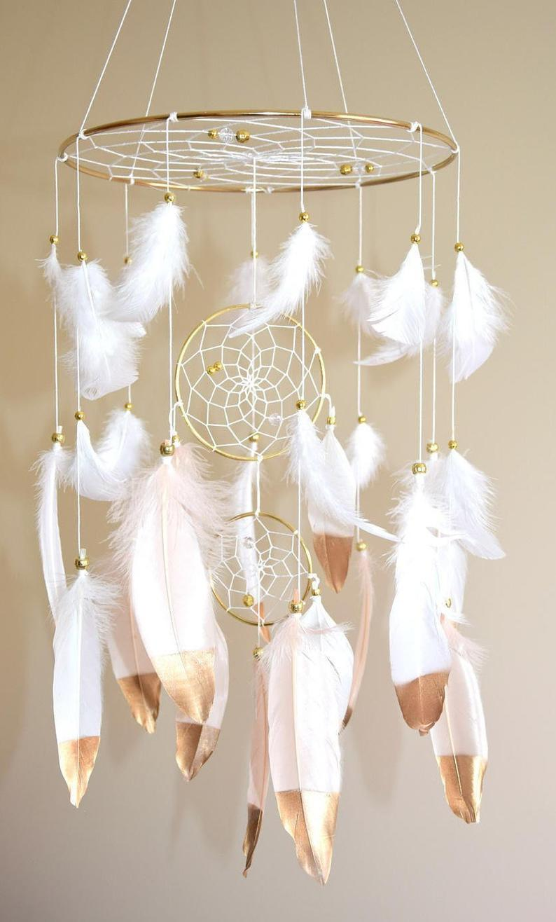 Crib Baby Mobile Dreamcatcher Baby Mobile Nursery Mobile Girl, Baby Shower Gift Woodland Nursery Decor Girl