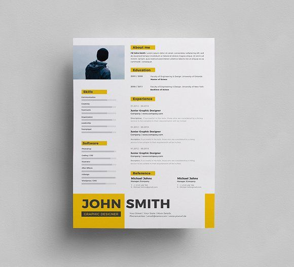 Resume by Generous Art_2 on @creativemarket   Creative Graphic ...