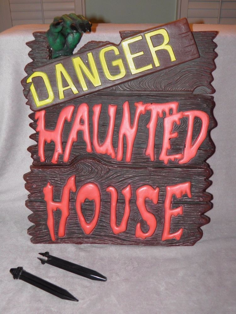 Rare DANGER HAUNTED HOUSE Blow Mold Halloween Decor Sign Hanging or