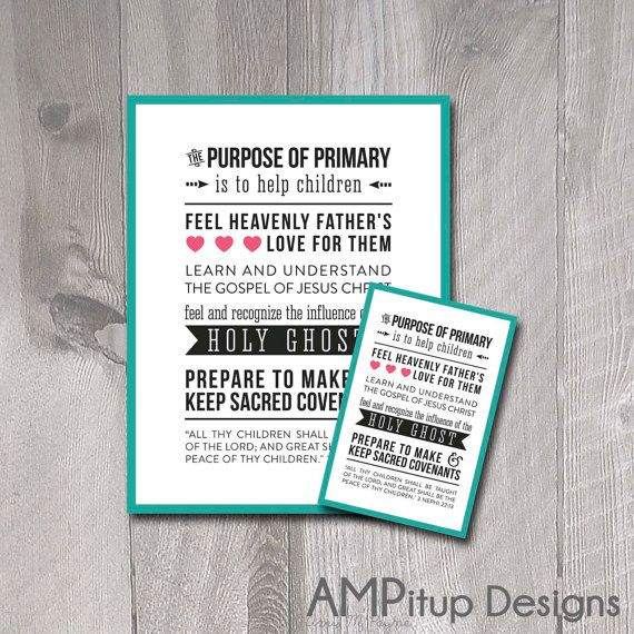 Purpose Of Primary Poster And Handout LDS By