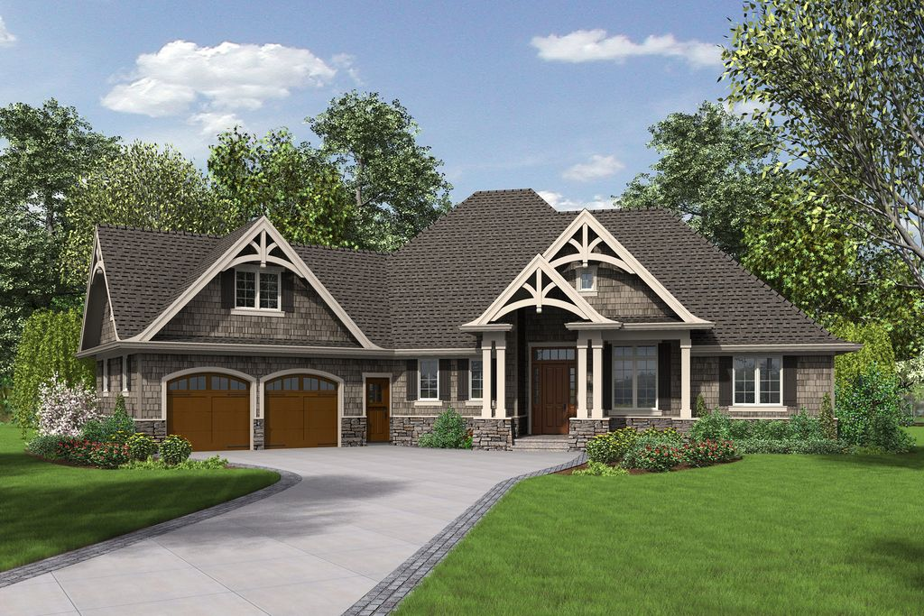3 bedrooms plus office single story with bonus room above Long ranch style house plans