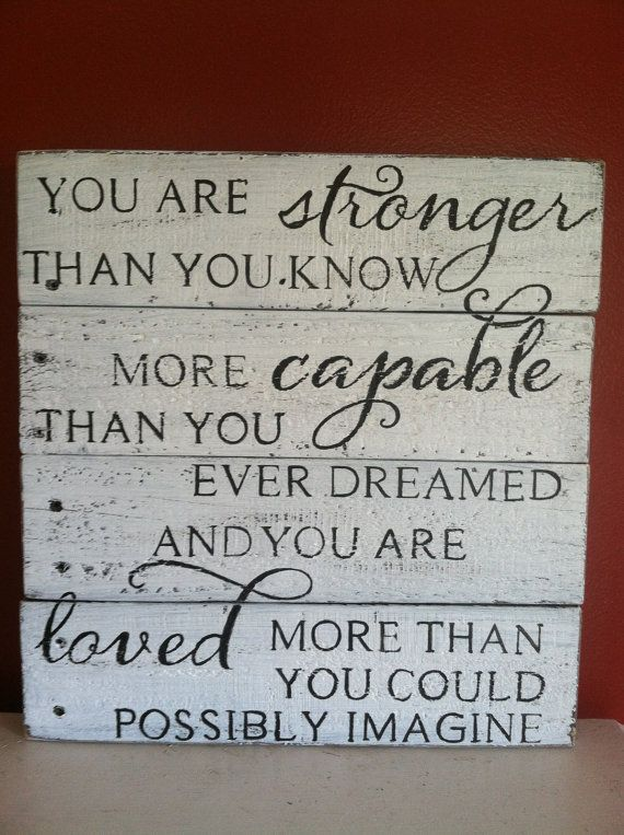 Stronger Than You Know reclaimed wood hand by HoneycombSigns #woodsigns