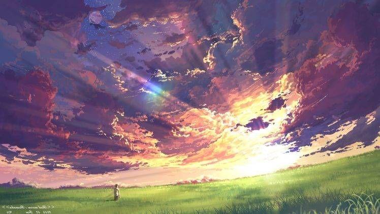 Anime Clouds Sky Sunset Sun Rays Field Hd Wallpaper Desktop Background Pemandangan Anime Pemandangan Gambar