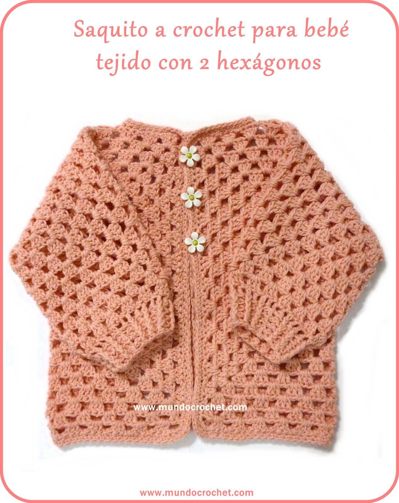 Saquito a crochet para bebé tejido con 2 hexágonos: Patrón y Paso ...